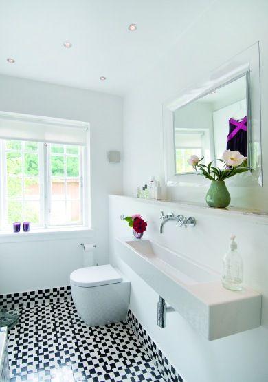 decoracao de lavabo simples:Black White Tile